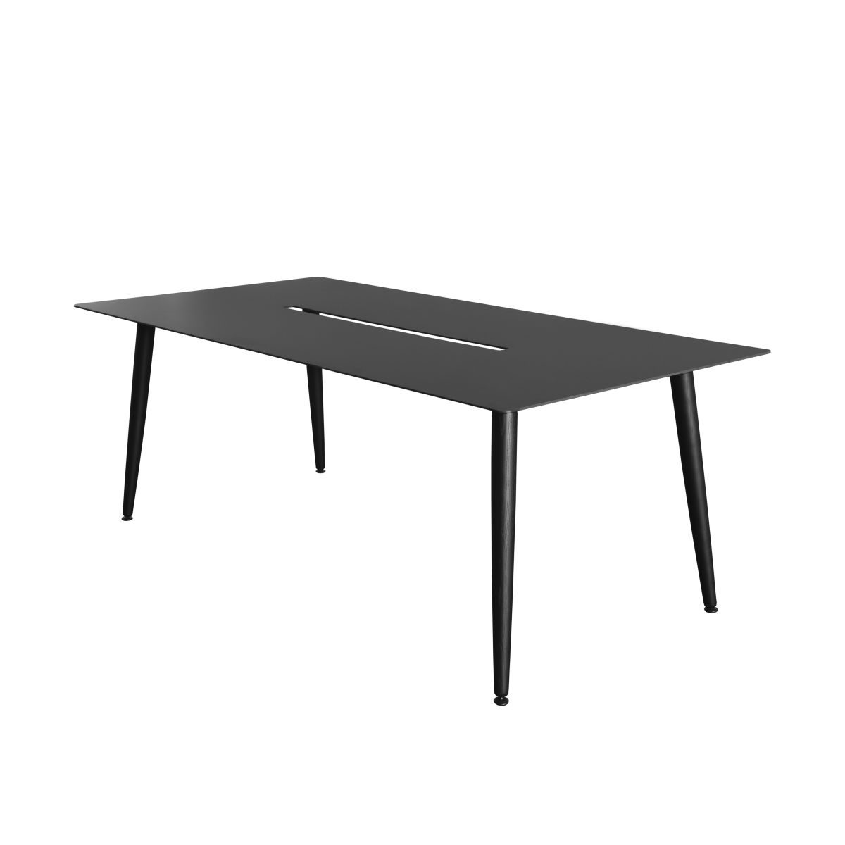 Table Babila black, 2m, with cable canal