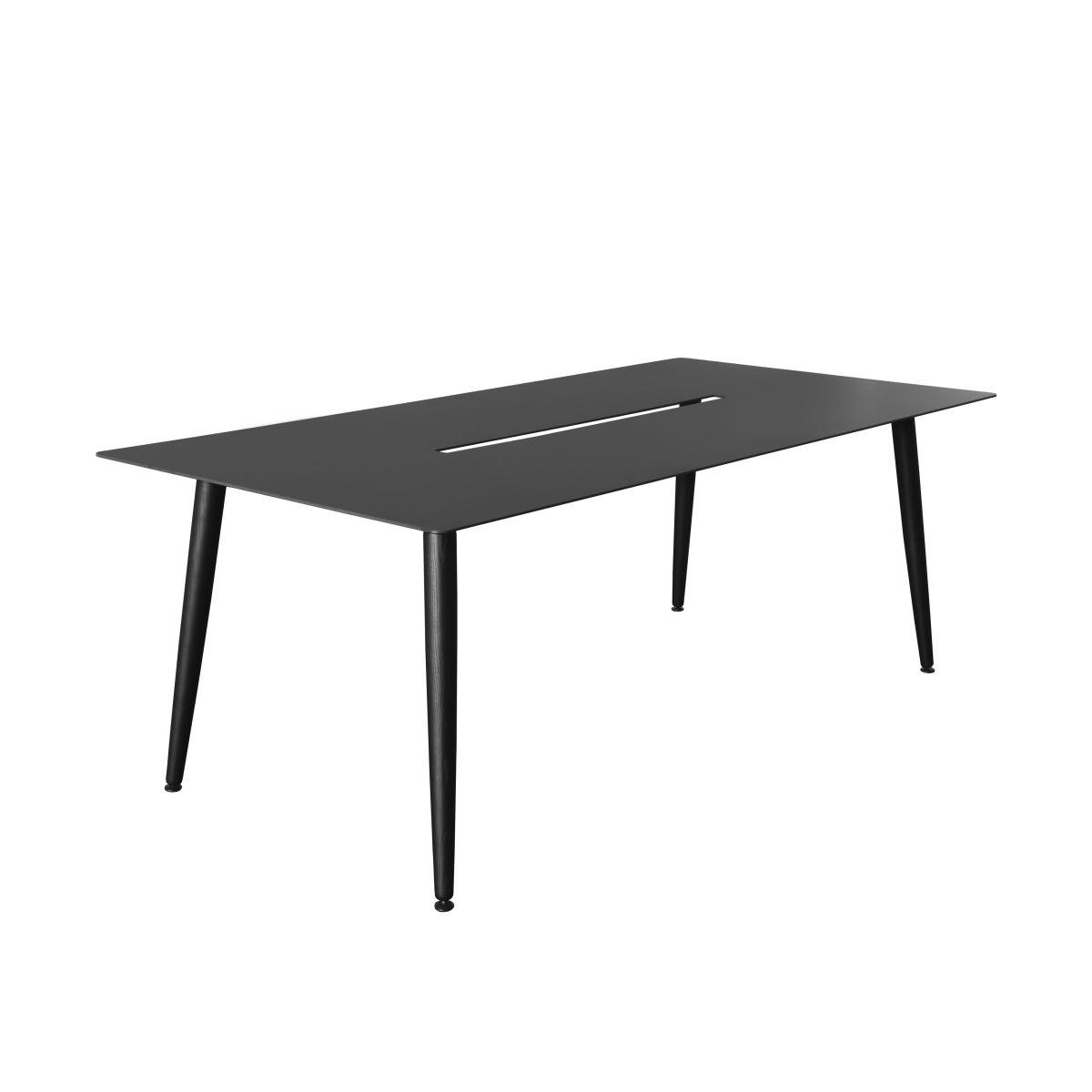 Tisch Babila schwarz, 2m, mit Kabelkanal